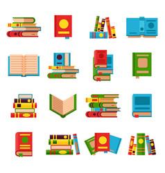 Flat books set vector