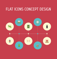 Flat icons muslim woman decorative malay and vector
