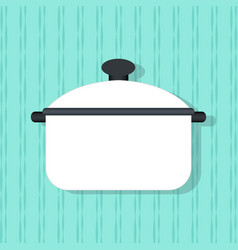Flat pan kitchenware on the wall background vector