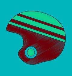 Flat shading style icon ski helmet vector