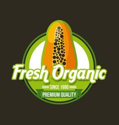 fresh organic food emblem image vector image