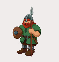 Funny barbarian viking redhead with spear vector