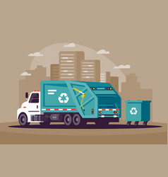 garbage collection in city in garbage vector image