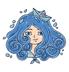 girl with curly hair sea girl paper boat vector image