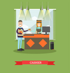 Grocery store cashier in flat vector