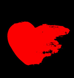 grunge red heart valentine day print vector image