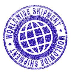 Grunge textured worldwide shipment stamp seal vector