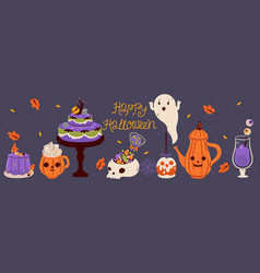 halloween food and drink banner graphics vector image
