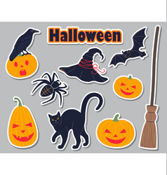 halloween simple stickers set vector image