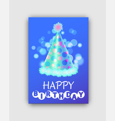 happy birthday colorful greeting card with hat vector image