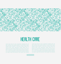 health care concept with thin line icons vector image