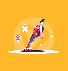 hipster man riding skateboard vector image