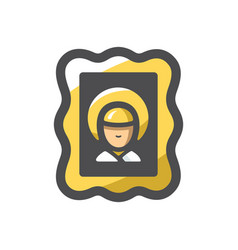 Holy image divine face icon cartoon vector