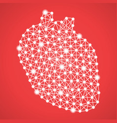 human heart isolated on a red background vector image
