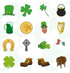 irish patrick day colorful cartoon icons set vector image