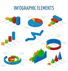 Isometric 3d charts set for infographics vector