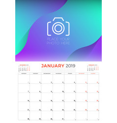 january 2019 calendar planner stationery design vector image