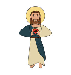 jesuschrist sacred heart cartoon vector image