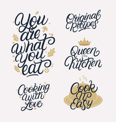 kitchen related lettering calligraphy set vector image