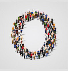 large group of people in letter o form vector image