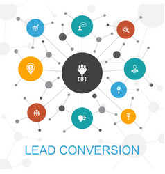 Lead conversion trendy web concept with icons vector
