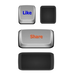 Like and share keyboard buttons on white vector image