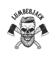 lumberjack skull with crossed axes design element vector image