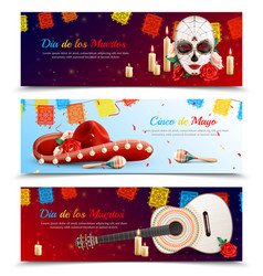 mexican holidays banners set vector image