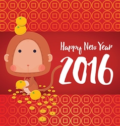 Monkey Happy New Year 2016 Card vector image