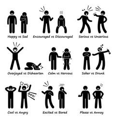 opposite feeling emotions positive vs negative vector image