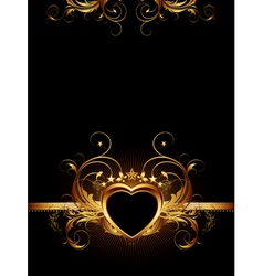 ornamental frame with golden heart vector image
