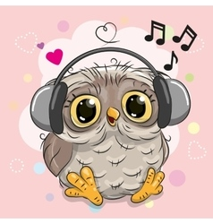 Owl with headphones and hearts vector