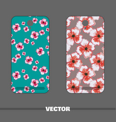 phone cover watercolor flowers vector image