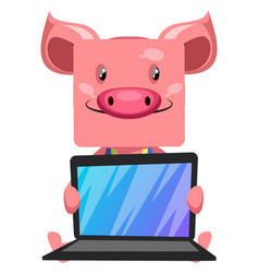 pig with lap top on white background vector image