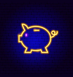 piggy bank neon sign vector image