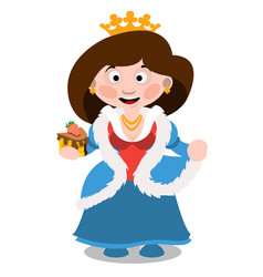 Queen with a cake cartoon characters vector