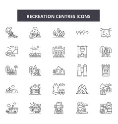 Recreation centres line icons signs set vector