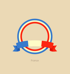 Ribbon and circle with flag of france vector