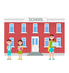 school building and people vector image
