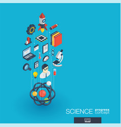 science integrated 3d web icons growth and vector image