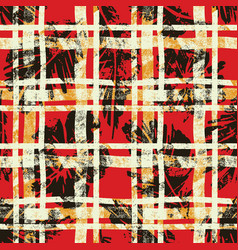 Scottish tartan with hibiscus and leaves vector