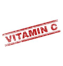 Scratched textured vitamin c stamp seal vector