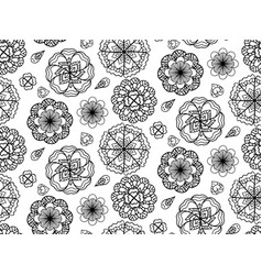 Seamless black and white texture with doodle vector