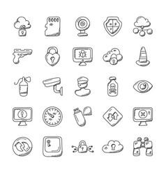 Security doodles set vector