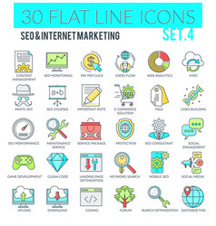 seo and internet marketing icons vector image