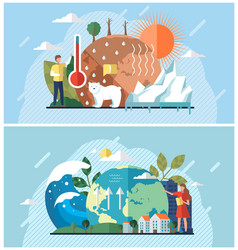 Set about climate change rising vector