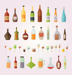 set design alcohol bottles and glasses vector image