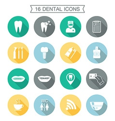 Set of dental icons Silhouette with shadow White vector image