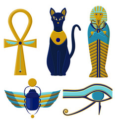 Set of egyptian signs and symbols cultures of vector