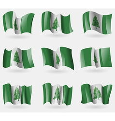 Set of Norfolk Island flags in the air vector image